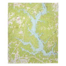 Lake Wylie, SC (1973) Topo Map Fleece Throw Blanket