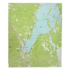 Lake George, NY (1966) Topo Map Fleece Throw Blanket