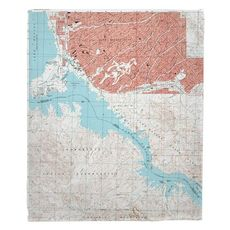 Lake Havasu City South, AZ (1994) Topo Map Fleece Throw Blanket