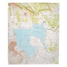 Clear Lake Reservoir, CA (1951) Topo Map Fleece Throw Blanket