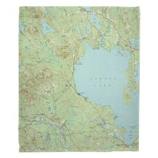 Sebago Lake, ME (1942) Topo Map Fleece Throw Blanket