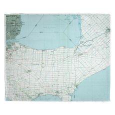 Lake St. Clair South, MI (1985) Topo Map Fleece Throw Blanket