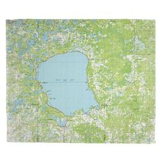 Mille Lacs Lake, MN (1985) Topo Map Fleece Throw Blanket