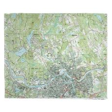 Lowell, MA (1987) Topo Map Fleece Throw Blanket