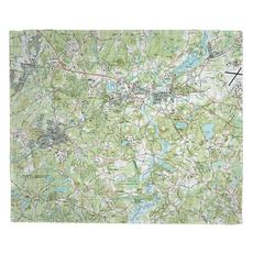 Maynard, Concord, MA (1987) Topo Map Fleece Throw Blanket