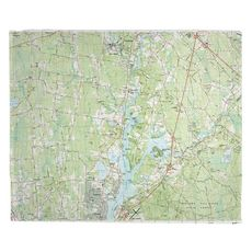 Taunton, Somerset, MA (1985) Topo Map Fleece Throw Blanket