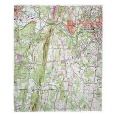 West Springfield, Southwick, Agawam, MA (1958) Topo Map Fleece Throw Blanket