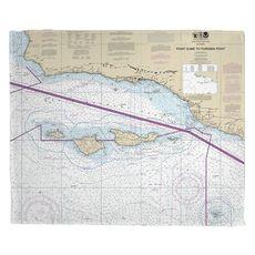 Point Dume to Purisima Point, CA Nautical Chart Fleece Throw Blanket