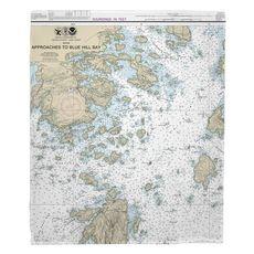 Deer Isle, ME Nautical Chart Fleece Throw Blanket