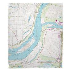 Fletcher Lake, AR; MS River; Lake McKellar, TN (1966) Topo Map Fleece Throw Blanket