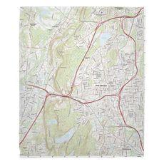 New Britain, CT Topo Map Fleece Throw Blanket