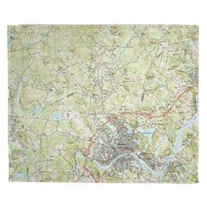Haverhill, MA (1987) Topo Map Fleece Throw Blanket