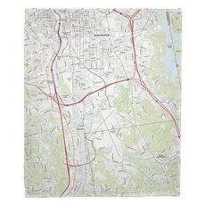 Manchester South, NH Topo Map Fleece Throw Blanket