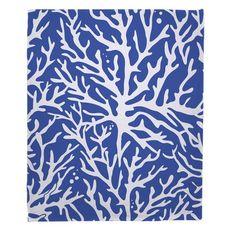 Coral Cobalt Fleece Throw Blanket