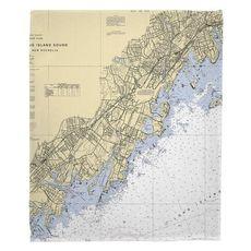 Mamaroneck, Rye, Port Chester, NY Nautical Chart Fleece Throw Blanket