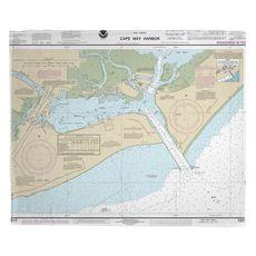 Cape May Harbor, NJ Nautical Chart Fleece Throw Blanket