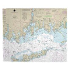 Noank, Mystic, Stonington, CT Nautical Chart Fleece Throw Blanket