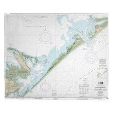 Ocracoke Inlet, Portsmouth Island, Cedar Island, NC Nautical Chart Fleece Throw Blanket