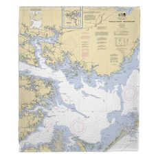 Pamlico Sound Western Part, NC Nautical Chart Fleece Throw Blanket