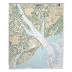 Port Royal Sound, SC Nautical Chart Fleece Throw Blanket