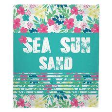 Sea Sun Sand Fleece Throw Blanket