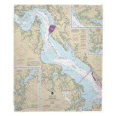 James River; Newport News to Jamestown Island, VA Nautical Chart Fleece Throw Blanket