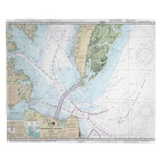 Chesapeake Bay Entrance, VA Nautical Chart Fleece Throw Blanket