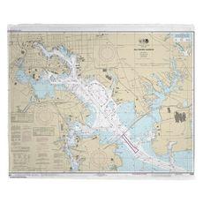 Baltimore Harbor, MD Nautical Chart Fleece Throw Blanket