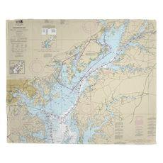 Chesapeake Bay; Sandy Point to Susquehanna River, MD Nautical Chart Fleece Throw Blanket