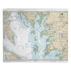 Chesapeake Bay; Smith Point to Cove Point, MD-VA Nautical Chart Fleece Throw Blanket