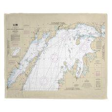 North End of Lake Michigan, MI Nautical Chart Fleece Blanket