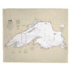 Lake Superior Nautical Chart Fleece Throw Blanket