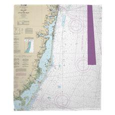 Sea Girt To Little Egg Inlet, NJ Nautical Chart Fleece Throw Blanket