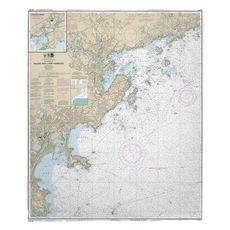 Salem and Lynn Harbors, MA Nautical Chart Fleece Throw Blanket