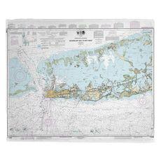 Sugarloaf to Key West, FL Nautical Chart Fleece Throw Blanket