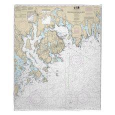 Frenchman and Blue Hill Bays, ME Nautical Chart Fleece Throw Blanket