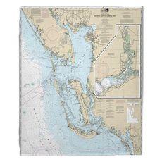 Estero Bay to Lemon Bay, FL Nautical Chart Fleece Throw Blanket