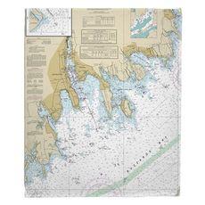 New Bedford, Fairhaven, Mattapoisett, MA Nautical Chart Fleece Throw Blanket
