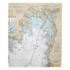 Marion, Wareham, Onset, MA Nautical Chart Fleece Throw Blanket