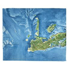 Key West, FL (1971) Topo Map Fleece Throw Blanket