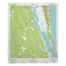 Saint Augustine, FL (1956) Topo Map Fleece Throw Blanket