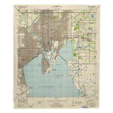 Tampa, FL (1944) Topo Map Fleece Throw Blanket
