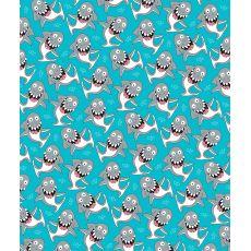 Goofy Shark Fleece Throw Blanket