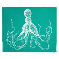 Vintage Octopus Fleece Throw Blanket - White on Aqua