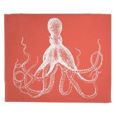 Vintage Octopus Fleece Throw Blanket - White on Coral