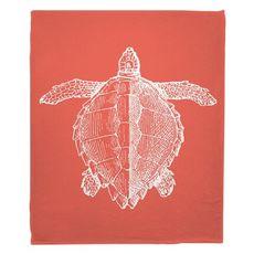Vintage Sea Turtle Fleece Throw Blanket - White on Coral