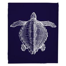 Vintage Sea Turtle Fleece Throw Blanket - White on Navy
