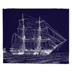 Vintage Ship Fleece Throw Blanket - White on Navy