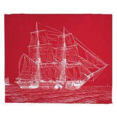 Vintage Ship Fleece Throw Blanket - White on Red