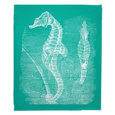 Vintage Seahorse Fleece Throw Blanket - White on Aqua
